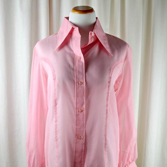 Pink Summer Ruffle Front Top Blouse Shirt Manufactured by Camaieu